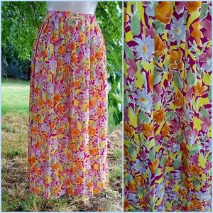 Vintage 80's Floral Pleated Leslie Fay Maxi Skirt